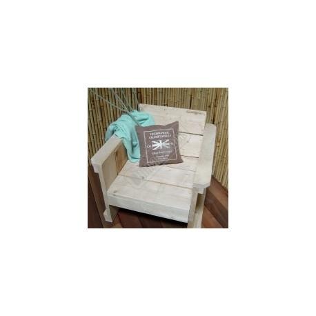 Steigerhouten stoel zittingbreedte 60cm met smalle leuning