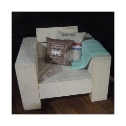 Steigerhouten stoel zittingbreedte 60cm met brede leuning